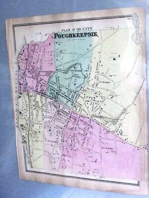 1868 Map Unionvale & Verbank Dutchess County, Ny From Beers Atlas Hand Colored
