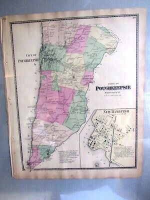 1868 Map Town Poughkeepsie New Hamburgh Dutchess Co, Ny Beers Atlas Hand Colored