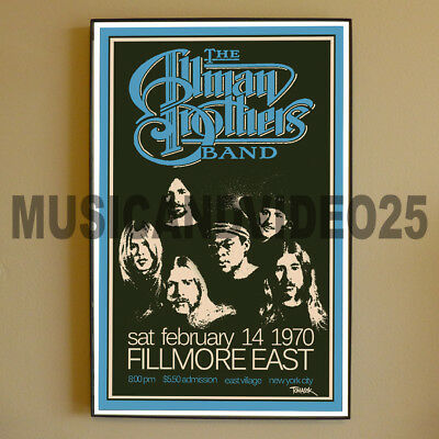 Allman Brothers Band FRAMED POSTER February 14 1970 Fillmore East New York RARE