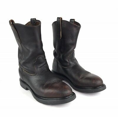 989ca4e8c50 RED WINGS PECOS Men's 9.5 D Boots 1132 Pull On Dark Brown Work Hike