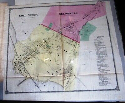 1868 Map Cold Spring Nelsonville , Putnam County, Ny Beers Atlas Hand Colored