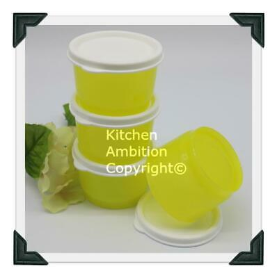 Brand New TUPPERWARE Snack Cups Set/4 Containers Yellow/White Airtight Seals #12