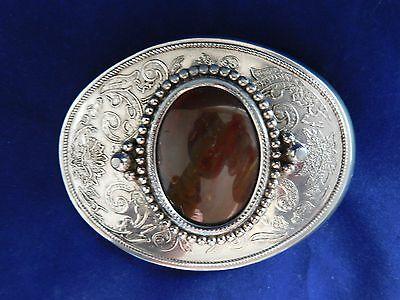 Vintage Oval Belt Buckle Agate Polished Stone Rusty Brown Silver Tone