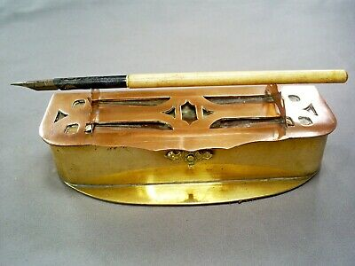 Fine Antique Arts & Crafts Pierced Copper/Brass Pen Rest Or Deskstand Lidded Box