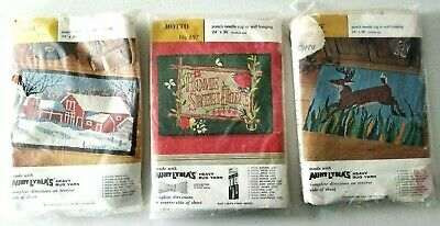 Lot of 3 Aunt Lydia's Punch Needle Rug or Wall Hanging Foundation Stag Barn Home