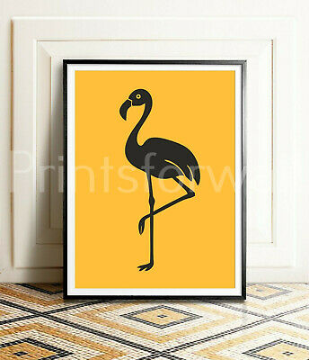Flamingo Print Animal Picture Fashion Yellow Mustard Home Wall Decor Art