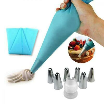 EQLEF® Silicone Icing Piping Cream Pastry Bag and 6 x Stainless Steel Nozzle