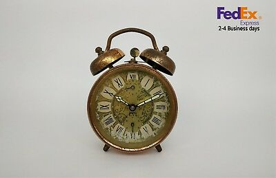 japy alarm clock french vintage bronze two bells automatic movement 1950-1960