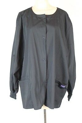 Cherokee Workwear Womens Scrub Top Black Snap Up No Size Tag (Q)