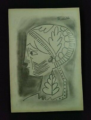 Vintage Pablo Picasso Drawing Charcoal On Old Paper Artwork Signed