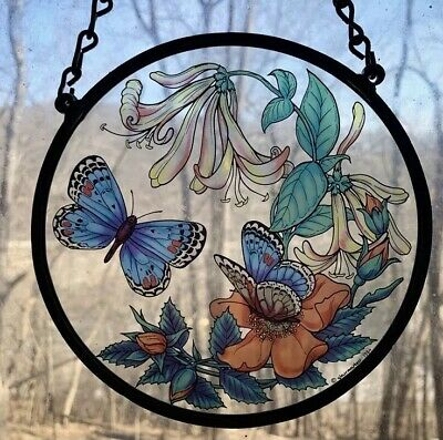 Vintage 1984 Glassmasters Stained Glass, Blue Butterflies, Flowers