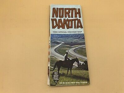 Vintage 1968 Official North Dakota Highway State Travel Road Map Old West Trail