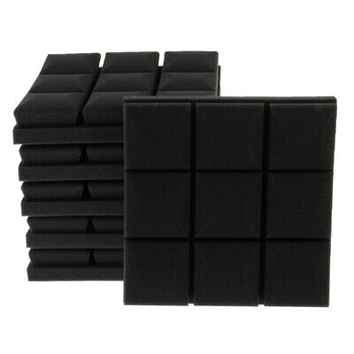 6 Pcs Acoustic Wedge Foam Sound Absorption Panels Soundproofing Foam Black