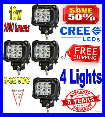 4X 4Inch 18W Cree Led Work Light Bar Spot Offroad Ute Reversing Truck Pod