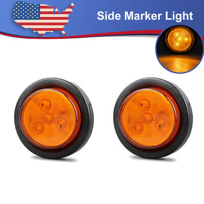 Partsam 10Pcs 2.5 Round Amber Led and Side Marker Lights Kit 13 Diodes with Light Grommet and Wire Pigtail Truck Trailer Rv Flush Mount Waterproof 12V Sealed 2.5 Round Led Marker Lights
