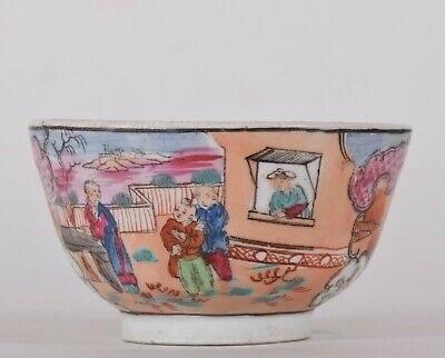 c1800 New Hall Porcelain Tea Bowl Boy In The Window Pattern Number 425 Chinoiser