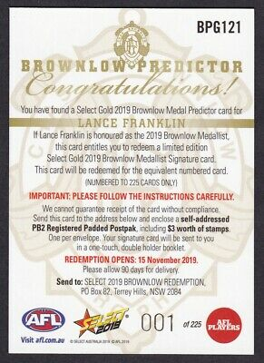 2019 Select Footy Stars - 'gold Brownlow Predictor' Cards - Choose Your Card