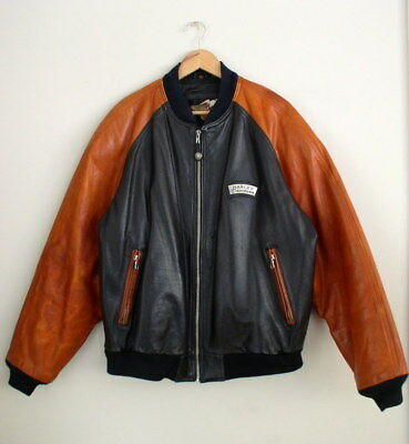Vintage Harley Davidson Mens Bomber Jacket V Twin Embossed Leather Varsity Coat