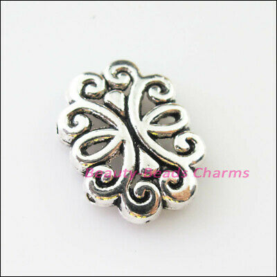 5Pcs Tibetan Silver 2-2 Hole Flower Spacer Bar Beads Connectors Charms 13.5x18mm