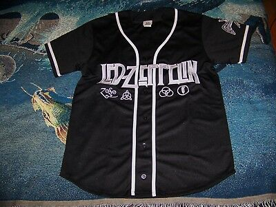 NEW NOS Vintage LED ZEPPELIN Embroidered Swan Song Zoso Jersey Button Shirt  Sz M 3af5c662c