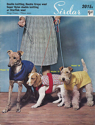 VINTAGE KNITTING PATTERN  COPY - TO KNIT DOGS  COATS IN 3 SIZES - 8PLY -1950's