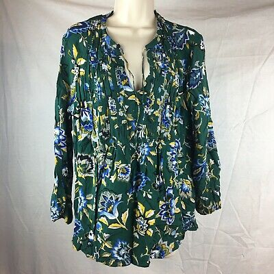 acfea2d1727 Old Navy Womens Size XL Green Floral Top Blouse Shirt Peasant Tie Neck