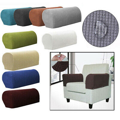 Solid Stretch Premium Fit Couch Arm Protector Chair Fleece Sofa Armrest Covers