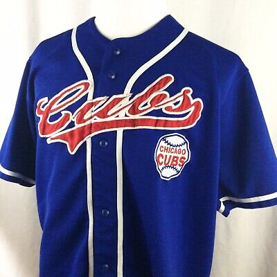 Vintage Chicago Cubs Jersey XXL 90s MLB Baseball True Fan Button Down Sewn Blue