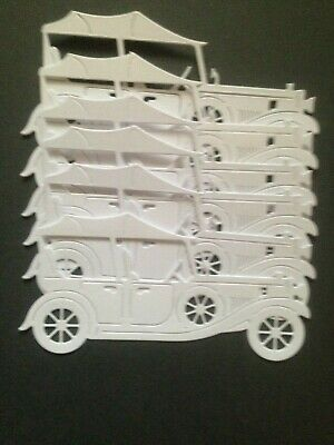 6 White Vintage Car Diecuts  - great for Cardmaking/Scrapbooking