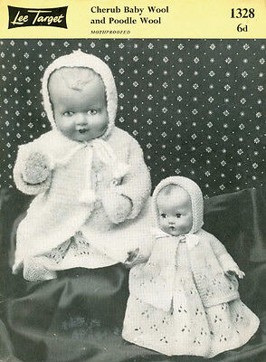 "VINTAGE KNITTING PATTERN  COPY - TO KNIT  DOLLS OUTFIT 1950's  - 10&16"" DOLLS"