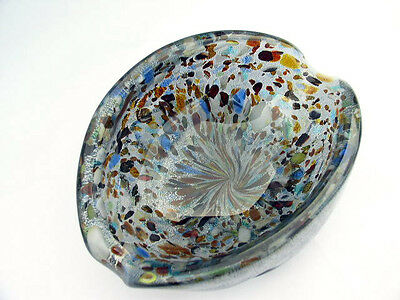 Vintage Venetian Murano Hand Blown Made in Italy Art Glass Bowl, Dish, Ashtray