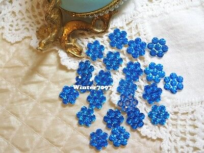 (361)*costume Makers Sellout*rhinestone Flowers*deep Blue*new!*