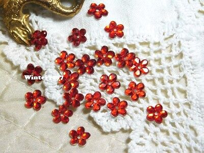 (229)**costume Makers Sellout**flat Back Rhinestones**red**flower**new!**
