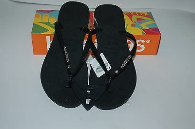 0cd0f9c74c3df HAVAIANAS Genuine NEW Ladies Slim THONGS FLIP FLOPS BLACK SILVER LOGO  CRYSTAL