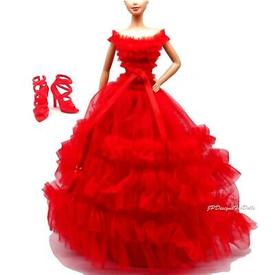 Barbie Model Muse Fashion Red 2018 Holiday Gown Matching Red Shoes New
