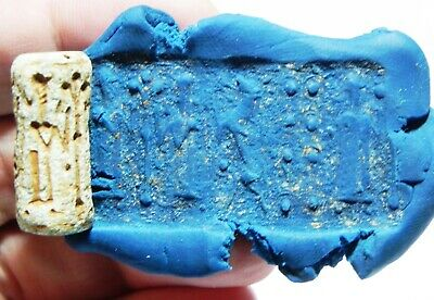 ZURQIEH -as11106- ANCIENT HOLY LAND. FAIENCE CYLINDER SEAL. 1ST MILL. B.C