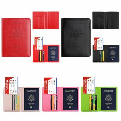 Leather RFID Blocking Passport Travel Wallet Holder Cards Cover Case  HU