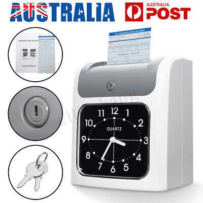 LCD Electronic Employee Time Attendance Time Clock Recorder Bundy + Timecards