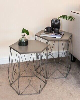 Hexagon Wire Side Table Set of Two Wooden Top