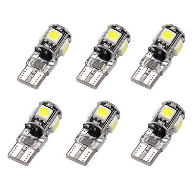 6x T10 Led Canbus Error Free 5 SMD Car Side Wedge Light Bulb White 168 194 W5W X