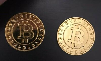 2 Plastic Gold Bitcoin Collector Coin Bit Coin Gold Plated BTC Coin