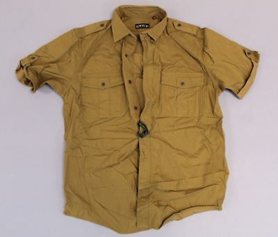 e215cf1134 ORVIS MENS SAFARI Poplin Roll Tab Short Sleeved Bush Shirt TW4 British Tan  Large