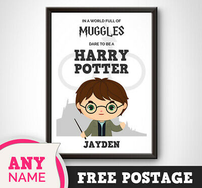 PERSONALISED MUGGLES DARE Harry Potter Wall Print Boy Son Daughter Sister  Girl