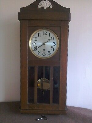 Antique Wooden Purser WALL CLOCK. Pendulum, Chimes, Wind-Up With Key