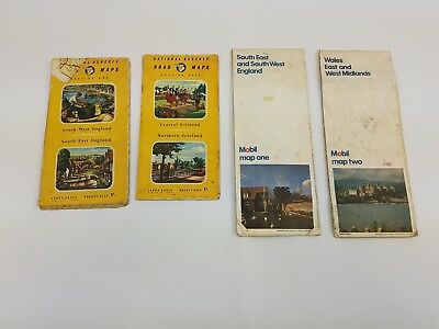 4 x Vintage Road Maps National Benzole Mobil England ScotlandWales Pocket Size