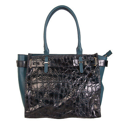 FRANCESCO BIASIA Leather Tote Bag Large Croc Print Zip Closure Made in Italy 60cbc070f6846