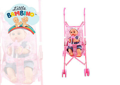 Baby Doll Girls Toy with Pram Buggy Foldable Play Toy Pink Girls Dolls