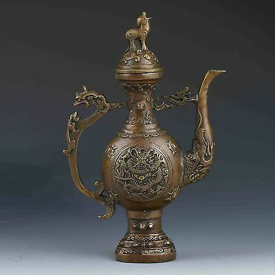 Chinese Brass Hand-carved  Dragon Teapot w Xuande Mark lion lid