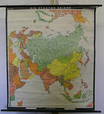 Schulwandkarte School Map Wall Map Map Asian Asia Countries States 1965 94x109cm