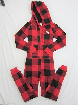 f7b2aff802 Victoria Secret Pink RED PLAID BLACK SHERPA HOODIE LONG JANE ONE PIECE  PAJAMAS S